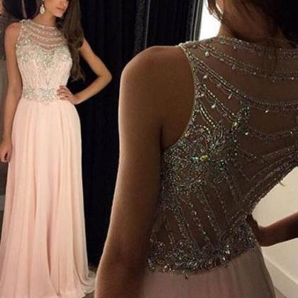 Chic A-Line Scoop Beaded Long Blush..