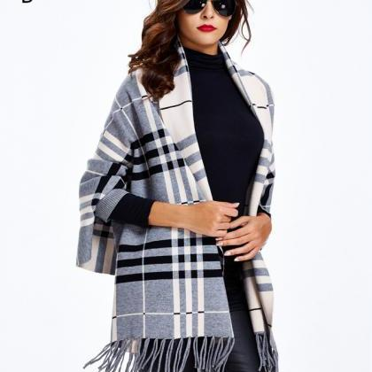 Striped Sweater Coat Black Sweater ..