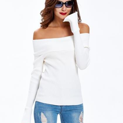 Off Shoulder Sweater White Sweater ..