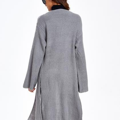 Plain Sweater Coat Grey Swaeter Coa..