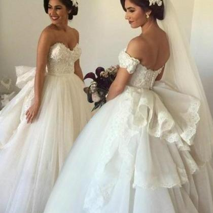 Gorgeous Ball Gown Sweetheart Off-shoulder Tulle Long Wedding Dress