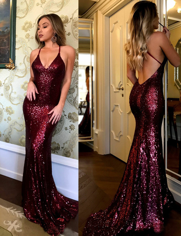 Shinning Mermaid Spaghetti Straps Backless Long Burgundy Sequin Prom/Evening Dresses With Sweep Train