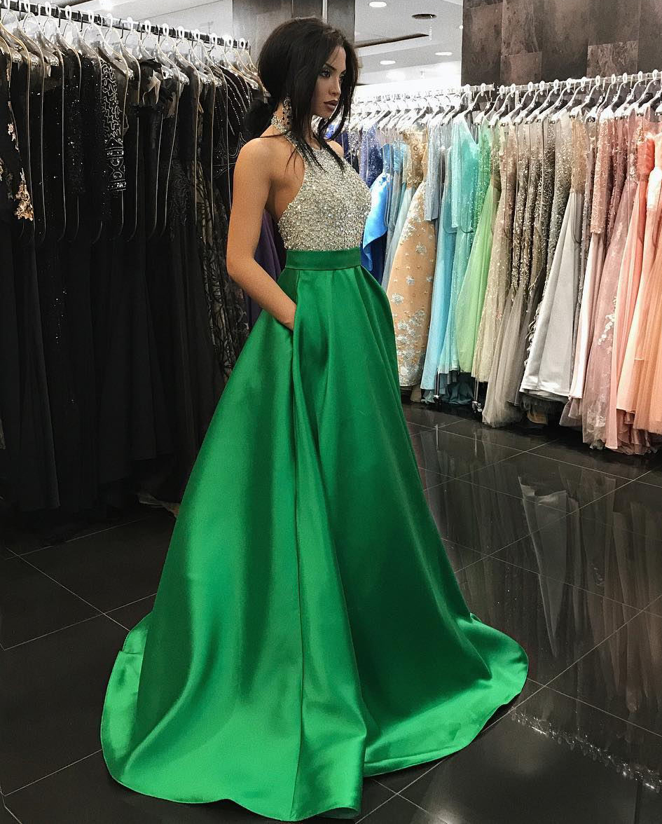 Stylish A Line Halter Beaded Long Green Satin Prom/Evening Dress With Pockets