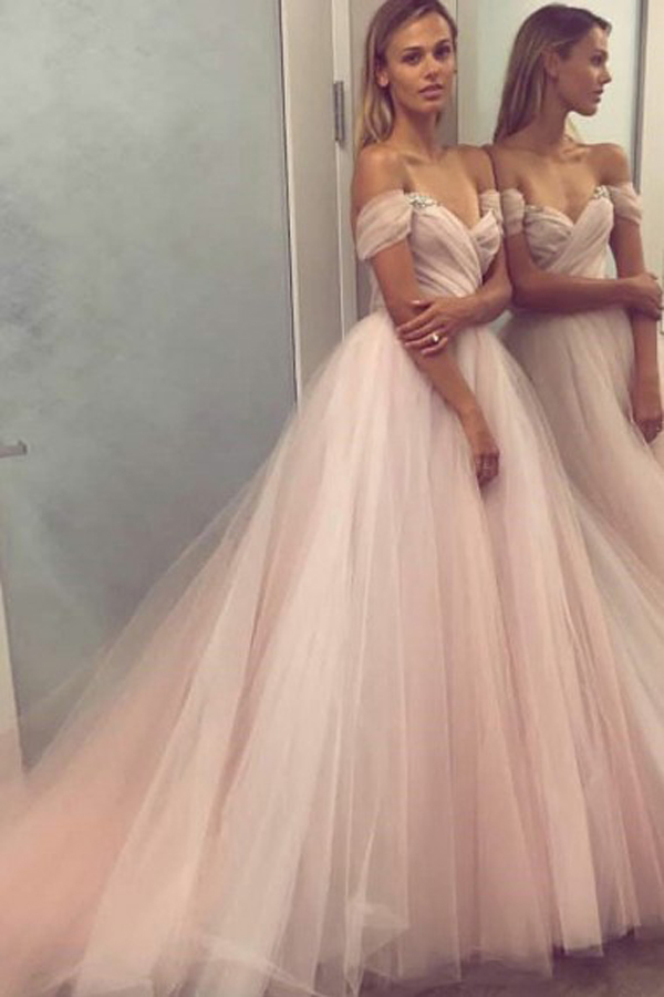 Charming A Line Off Shoulder Champagne Tulle Prom/Formal Dress With Pleats/Beading