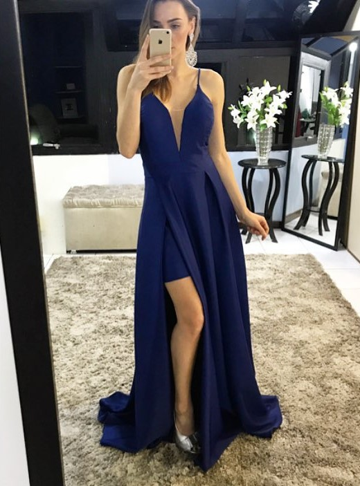 Stylish A Line Deep V Neck Spaghetti Straps Slit Long Burgundy/Navy Blue Satin Prom/Evening Dress