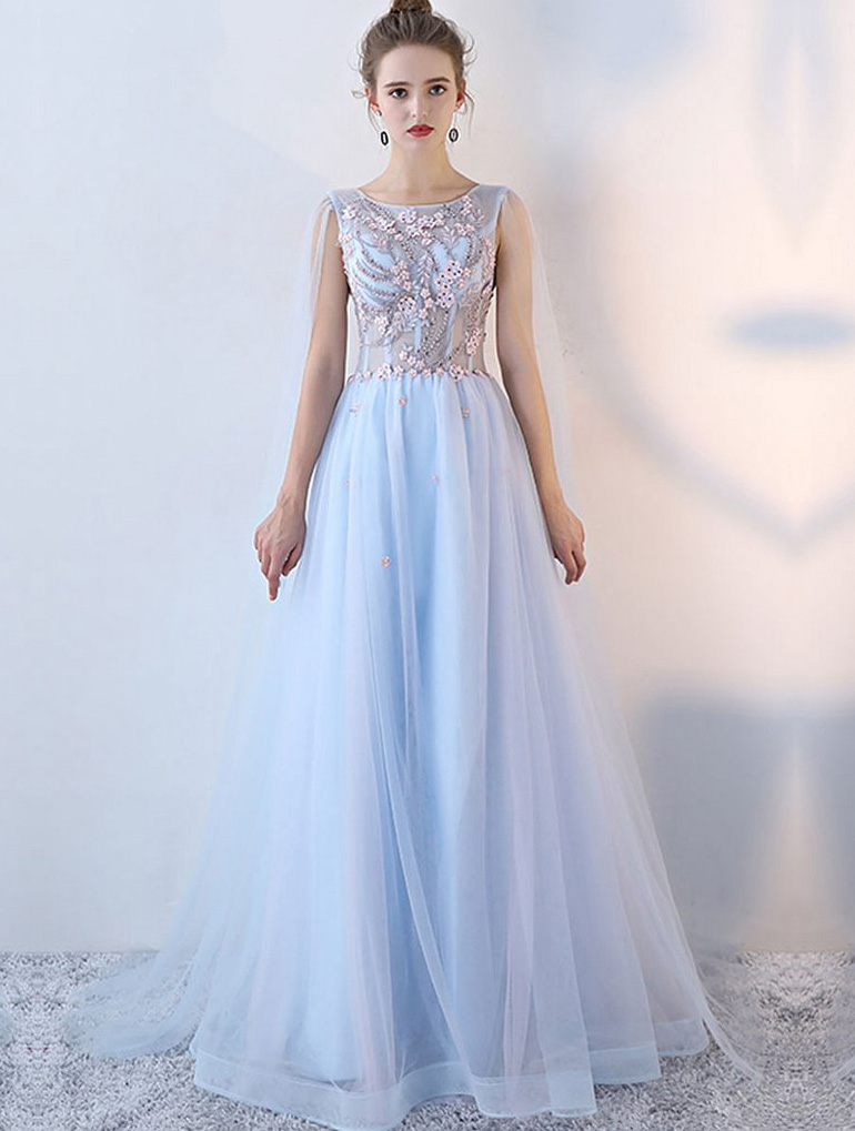 91310d5e7e94 Romantic A Line Scoop Lace Up Long Light Blue Tulle Prom Dress With Beaded  Flowers