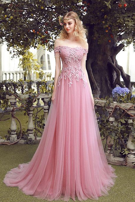 Charming A Line Off Shoulder Lace Up Long Pink Lace Tulle Prom Dress With Beading