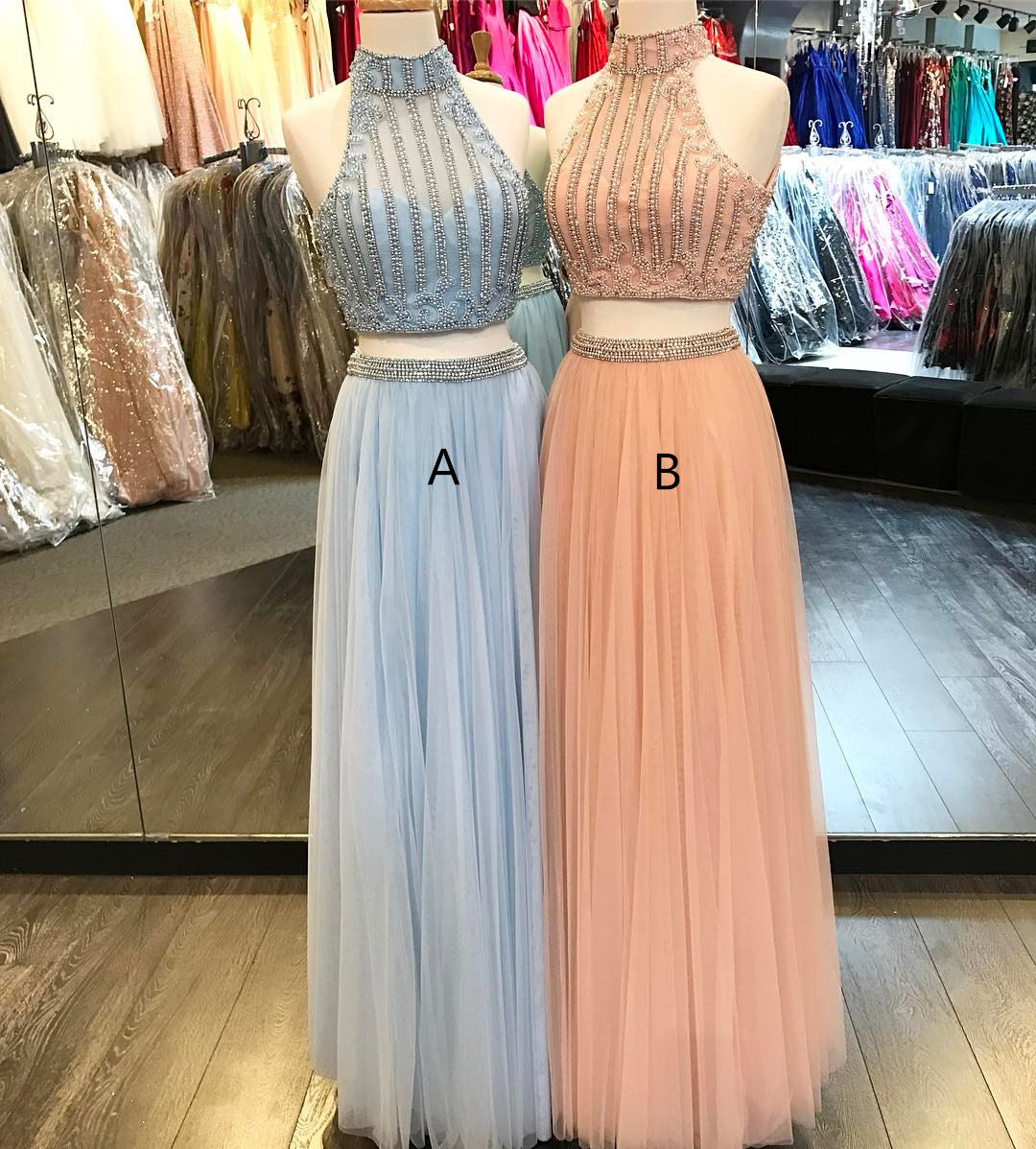 Fashion Two Piece High Neck Long Beaded Blue/Coral Tulle Prom/Evening Dress