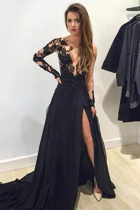 Sexy A Line Long Sleeves V-Neck Chiffon Black Lace Chiffon Prom Dresses With Slit