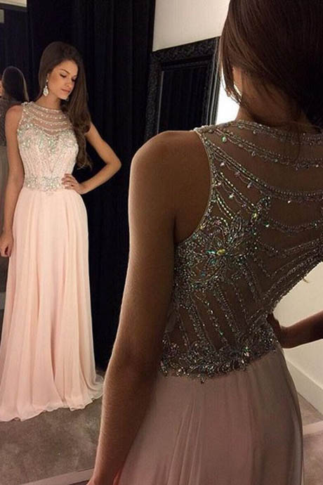 Chic A-Line Scoop Beaded Long Blush Chiffon Prom/Evening Dress