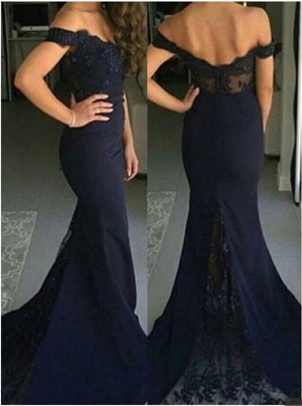 b34c6a0287c Elegant Mermaid Off-the-shoulder Navy Blue Satin Bridesmaid Prom Dress with  Sequined Lace
