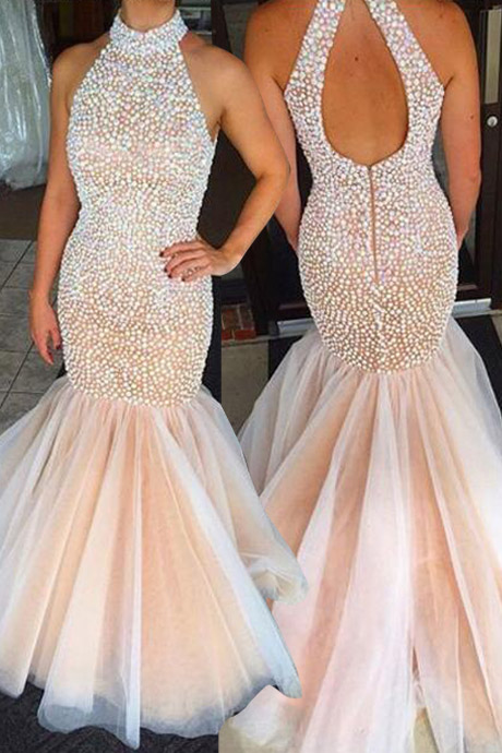Elegant Mermaid High Neck Open Back Beaded Prom Dress