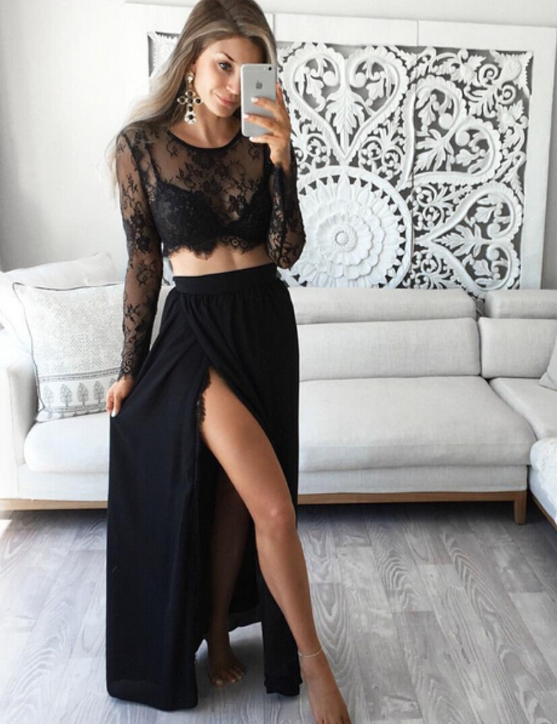 Stunning Two Piece Jewel Long Sleeves Black Lace Prom/Evening Dress with Slit