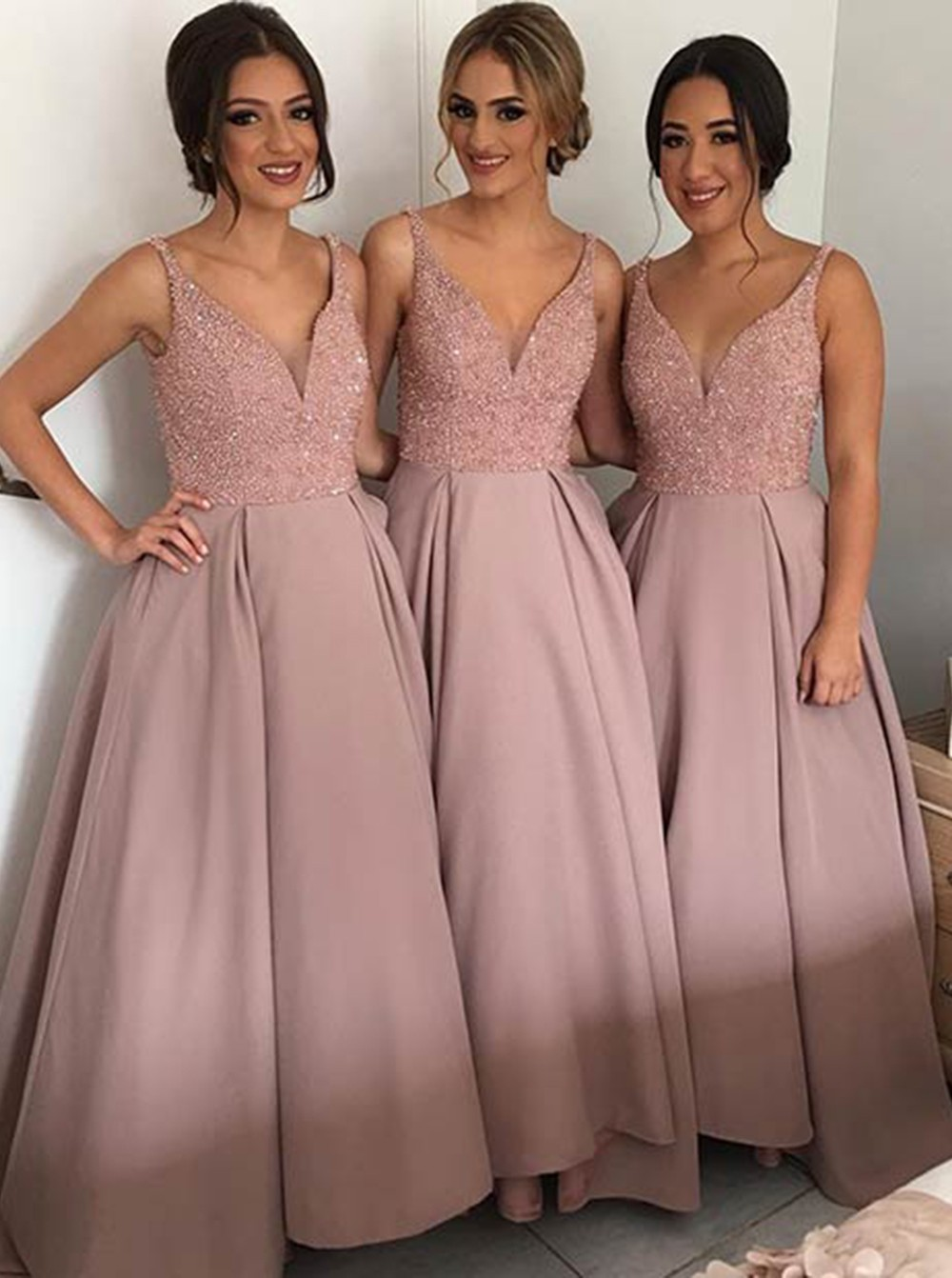 Fashion A Line Deep V Neck Beaded Dirty Pink Satin Bridesmaid Dresses