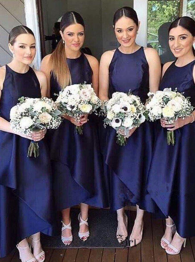 Simple Tea Length Bridesmaid Dress Navy Blue Casual Dresses Elegant