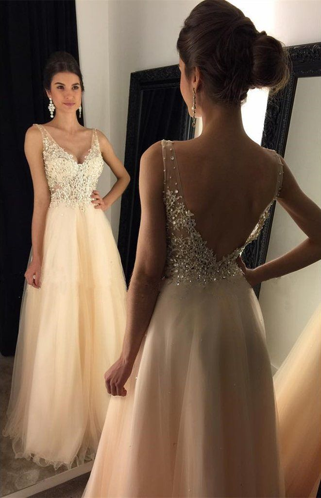 0a15e54b6 Elegant A Line V Neck Backless Beaded Champagne Prom/Evening Dress with  Lace Appliques