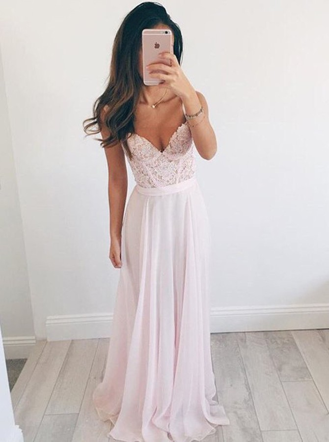 Sexy A Line Spaghetti Straps Sweetheart Long Pink Chiffon Prom Dresses With Beaded Lace