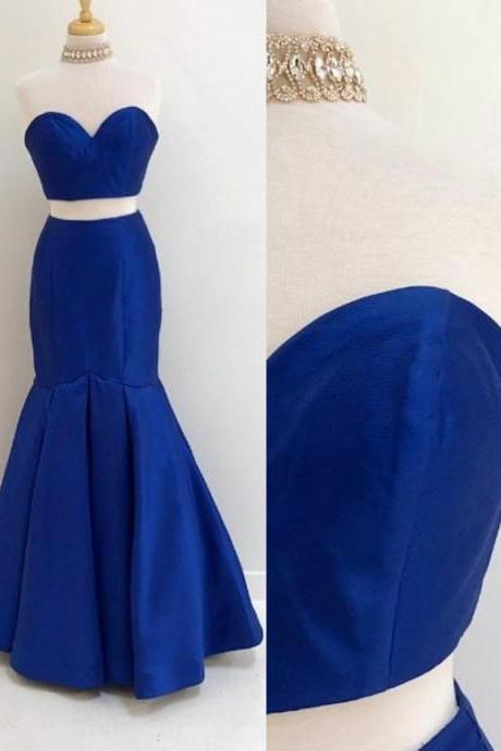 Simple Two Pieces Sweetheart Long Mermaid Royal Blue Satin Prom/Evening Dresses