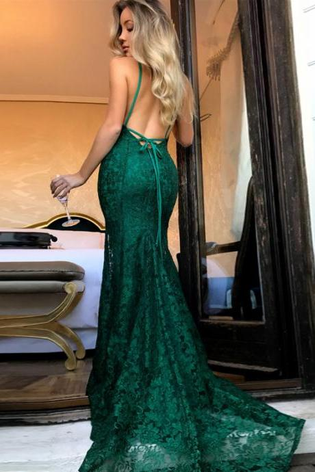 Charming Mermaid Backless Spaghetti Straps Long Dark Green Lace Prom/Evening Dresses 2018