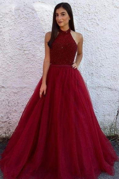 Glamorous A Line Halter Backless Long Dark Red Tulle Prom/Evening Dresses With Beading
