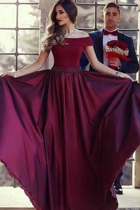 Elegant A Line Off The Shoulder Long Women Burgundy Satin Prom/Evening Dresses With Beading