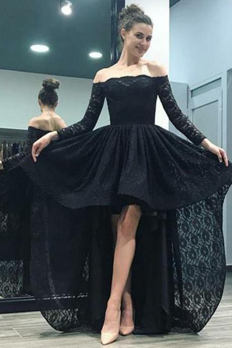Elegant High Low Off the Shoulder Long Sleeves Black Lace Prom/Evening Dresses 2018