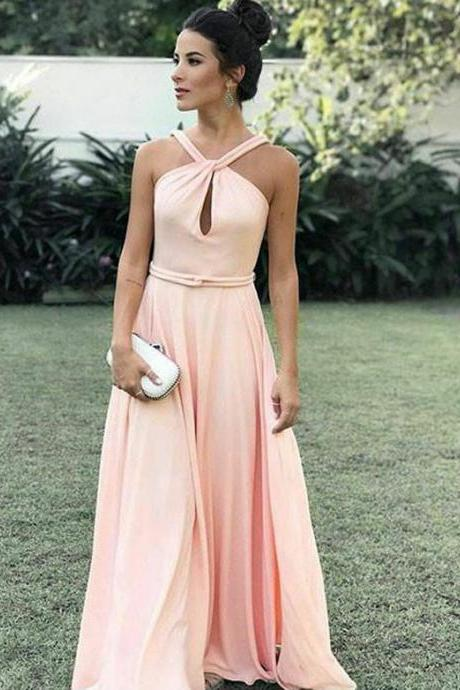 Boho A Line Halter Sleeveless Long Blush Pink Prom/Evening Dresses with Belt