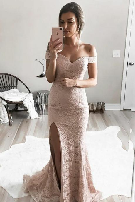 Elegant Mermaid Off The Shoulder Long Dirty Pink Lace Evening Prom Dresses With Slit