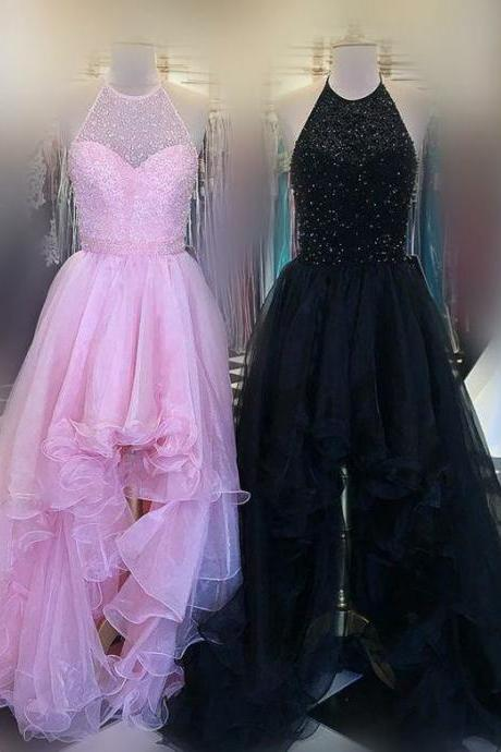 Stunning High Low Halter Beaded Long Red/Black/Pink Tulle Prom/Graduation Dress With Ruffles