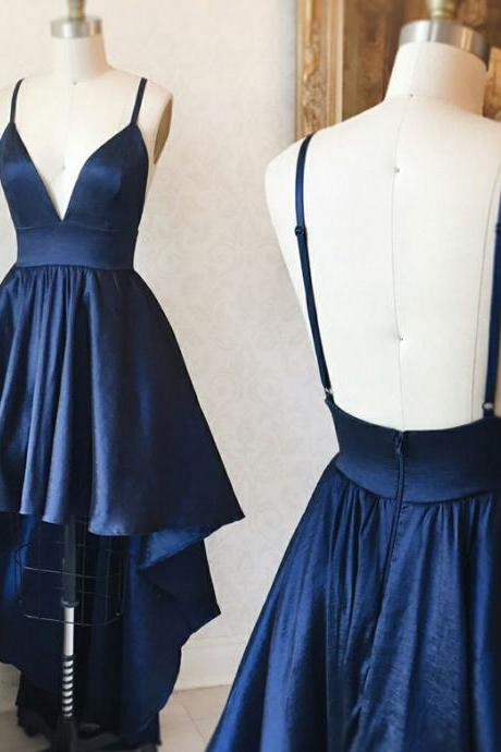 Simple High Low Spaghetti Straps Long Navy Blue Satin Prom/Party Dress
