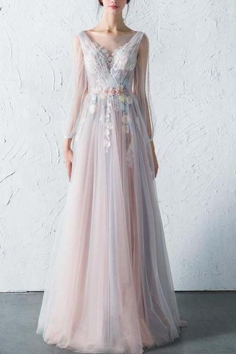 Romantic A Line Bateau Long Sleeves Backless Tulle Prom/Evening Dress With Flowers