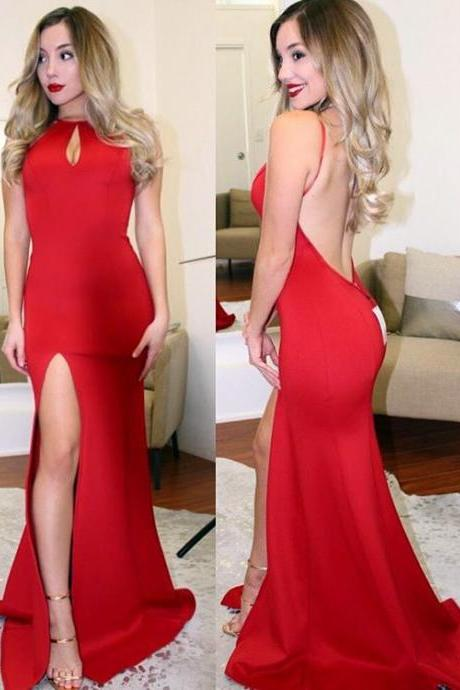 Sexy Mermaid Spaghetti Straps Backless Long Red Satin Prom/Evening Dress With High Slit