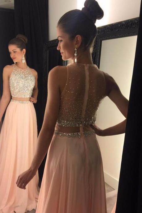 Cheap Two Piece A Line Scoop Long Blush Chiffon Prom Dresses with Beading