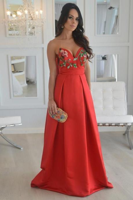 Unique A Line Strapless Embroidery Long Red Satin Prom/Evening Dress
