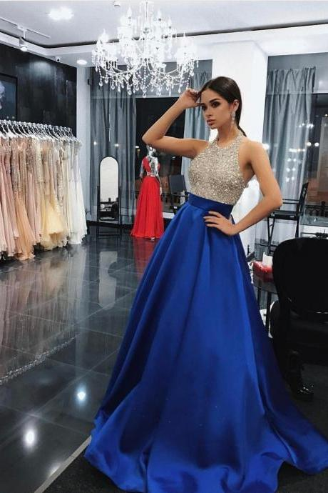Shinning A Line Halter Beaded Long Royal Blue Satin Prom/Evening Dress With Pockets