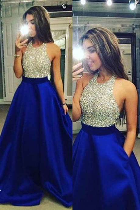 Stylish A Line Halter Long Beaded Royal Blue Satin Prom Dress/Evening Dress