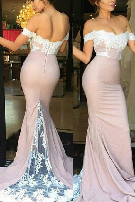Elegant Mermaid Off Shoulder Lace Bridesmaid Dress with Sweep Train