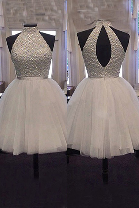 Luxurious Beaded High-neck Short Tulle Homecoming /Party Dress