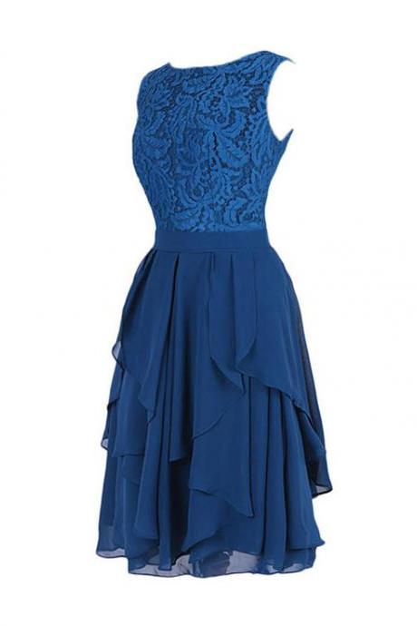 Cute Jewel Knee Length Tiered Navy Blue Lace Chiffon Bridesmaid Dress