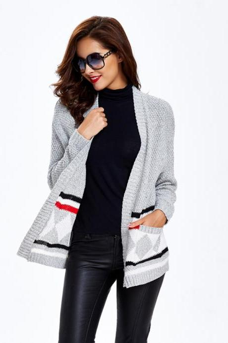 Geometric Sweater Grey Sweater Bat Long Sleeves Sweater Coat Cheap Sweater Coat