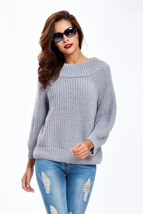 Off Shoulder Sweater Loose Sweater Plain Sweater Grey Sweater