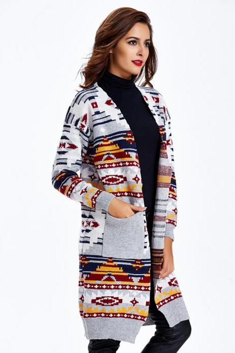 Printed Sweater Coat Grey Sweater Coat Long Cardigan Sweater Coat