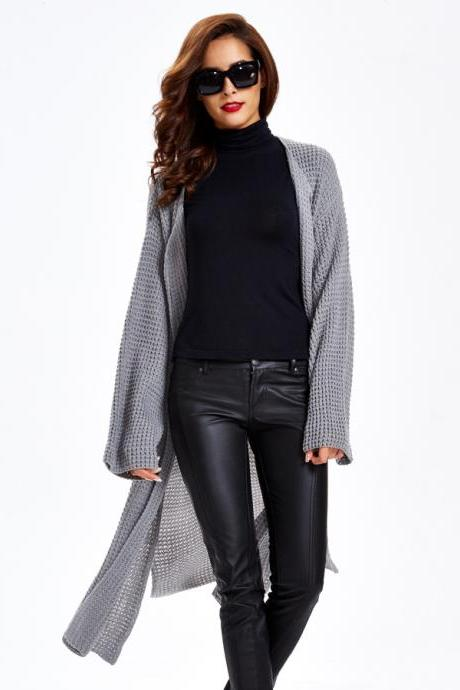 Plain Sweater Coat Grey Swaeter Coat Translucent Long Sweater Coat