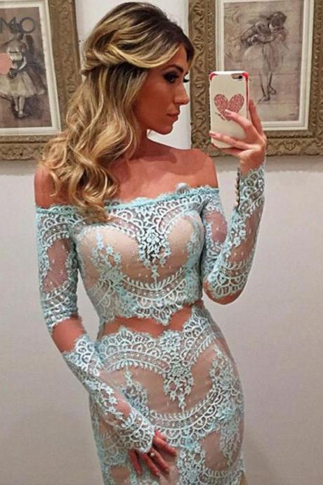 Sexy Mermaid Off Shoulder Long Sleeves Turquoise Lace Prom Dress