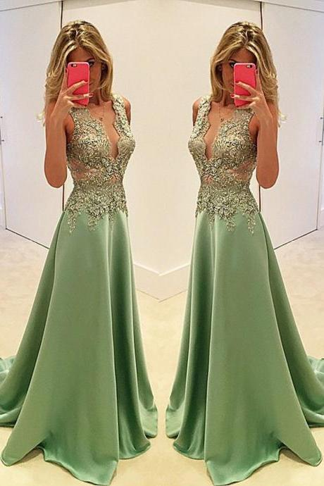 Stylish A Line Deep V-neck Beaded Green Lace Satin Prom Dress