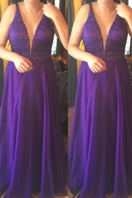 Fancy A Line Deep V Neck Purple Chiffon Plus Size Prom/Evening Dress with Beading