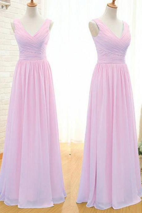 Simple A- Line V- Neck Floor Length Chiffon Bridesmaid Dress