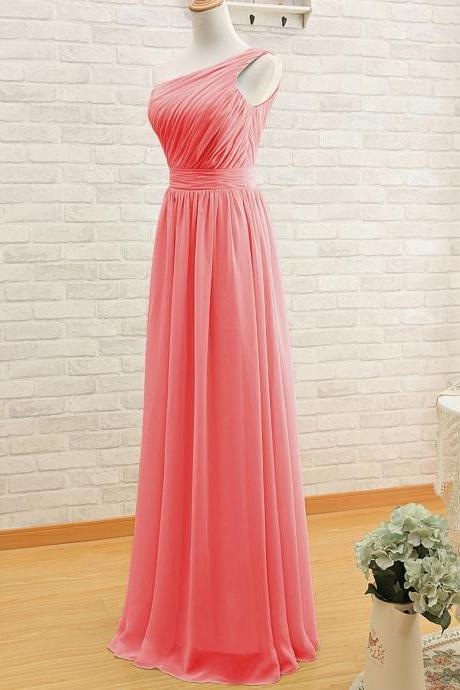 Simple A-line One-shoulder Long Watermelon Bridesmaid Dress/Wedding Party Dress