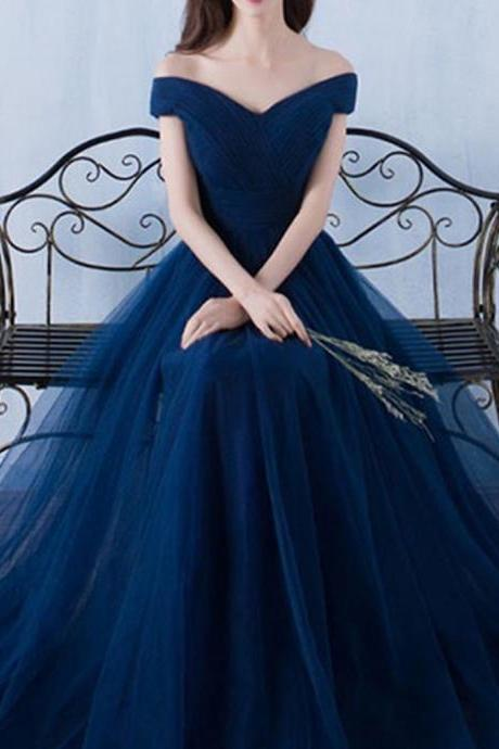 Simple A Line Off the Shoulder Long Navy Blue Tulle Prom/Bridesmaid Dress with Pleats