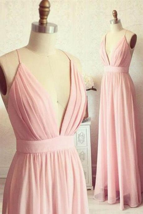 Simple A Line Spaghetti Straps Deep V Neck Backless Long Blush Pink Chiffon Prom Dresses/Bridesmaid Dresses